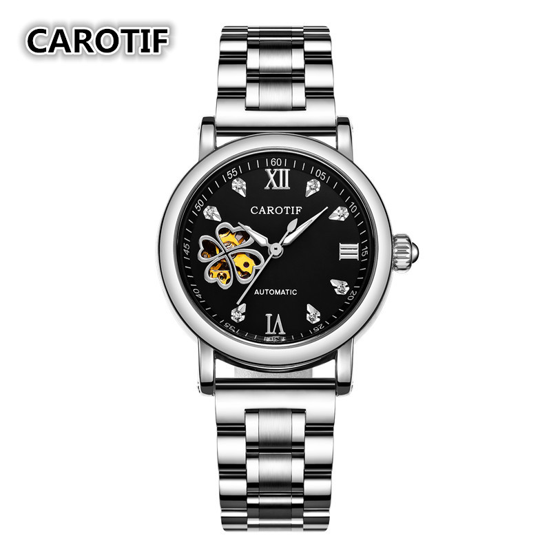 Fashion Flower Design Mechanical Women Watches Montre Femme Stainless Steel Ladies Waches Casual Female Clock Reloj Mujer<br>