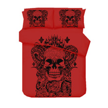 Red Skull Printed Duvet Cover Set 2/3pcs Single Double Queen King Bedclothes Bed Linen Bedding Sets(No Sheet No Filling)(China)
