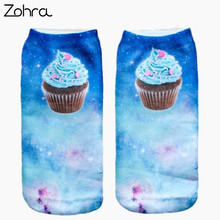 Zohra Space Muffin Graphic 3D Full Print Women Cute Unisex Low Cut Ankle Socks Multiple Colors Cotton Sock Casual Hosiery