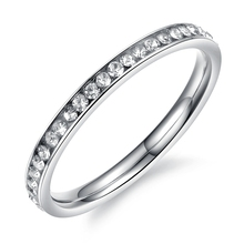 Trendy Round Stainless Steel CZ Bright Sliver Tone Hot Rings For Women Fashion Jewelry