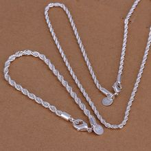 jewelry silver plated jewelry set, fashion jewelry set Twisted Line /dftalxaa cobalfia S051(China)