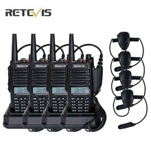 4 pcs IP67 Waterproof Walkie-Talkie Retevis RT6 Amateur Radio+4X Mic 5W/3W/1W Dual Band VHF/UHF Frequency Portable Two Way Radio