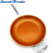 Sweettreats Non-stick Copper Frying Pan with Ceramic Coating and Induction cooking,Oven & Dishwasher safe 12 Inches(China)
