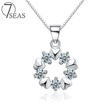 7SEAS 100% 925 Sterling Silver Heart Snowflake Necklace Pendant Cubic Zirconia Necklace Pendant For Women Lady Jewelry,7S068