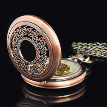 High Quality Red Copper Mechanical Pocket Watch Skeleton Men's Pocket Watch Wholesale