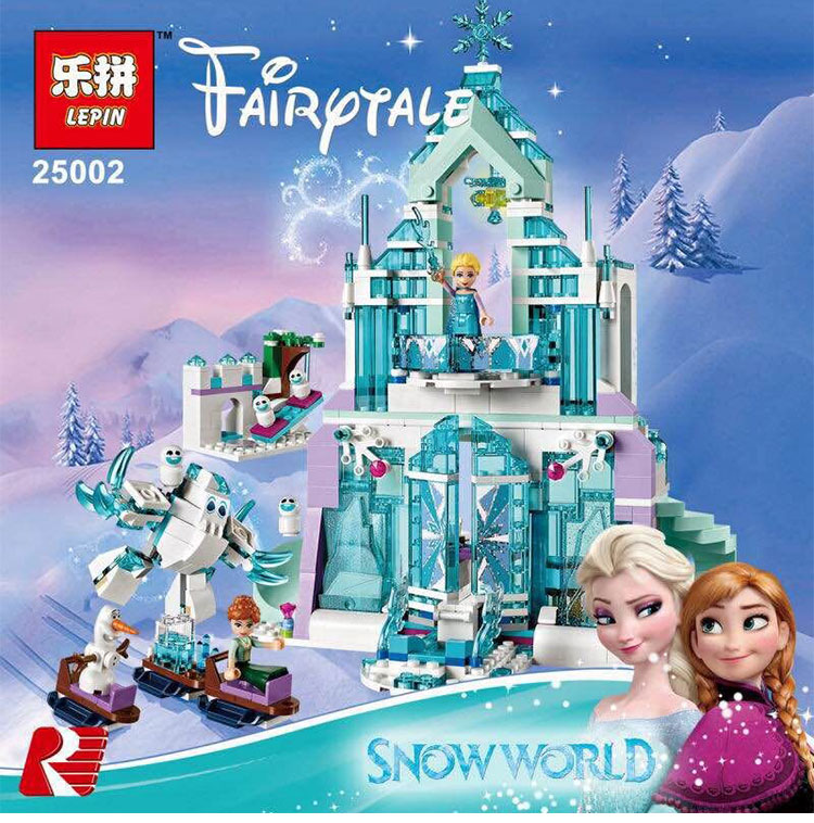 Lepin 25002 Snow World Series The Elsa`s Magical Ice Castle Set Building Blocks Bricks legoinglys Toys Girl friend with 41148<br>