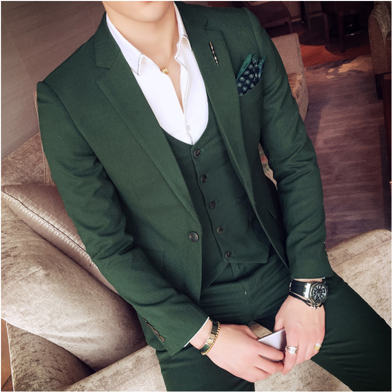 KUSON 2018 Dark Green Mens Suits Slim Fit Sets (Jacket+Pants+Vest) Stylish Designer Party Suits Costume Homme Marriage Tuxedos