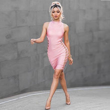 2018 New Spring Bandage Dress Women Celebrity Party Sleeveless Hollow Chic Sexy Night Club Dress Women Bodycon Vestidos