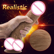 Buy YUELV 22.5*5cm Soft Huge Dildo Strong Suction Cup Lifelike Realistic Penis Big Dildo Women Masturbate Sex Dick Toys