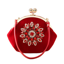 JULY'S SONG New Fashion Ladies Diamond Sunflower Hand Bag Velour Bridal Wedding Party Dinner Clutch Bag Rhinestone Evening Purse(China)