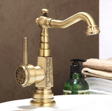 Newly Free Shipping Wholesale And Retail Deck Mounted Vintage Antique Brass Bathroom Basin Faucet Sink Basin Faucet Mixer Tap