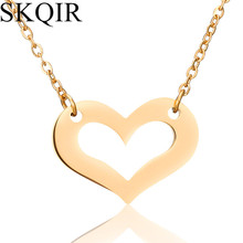 SKQIR Fashion Women Jewelry Gold Color Chain Heart Pendant Necklace Stainless Steel collier femme Choker Sweater Necklaces Gift(China)