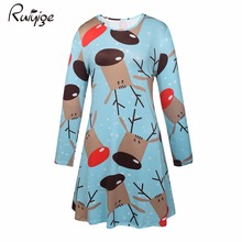 Ruiyige 2017 Spring Winter Christmas Dress Women Blue Deer Floral Print O-Neck Tunic Basic Flared Elastic Mini Xmas Dresses(China)