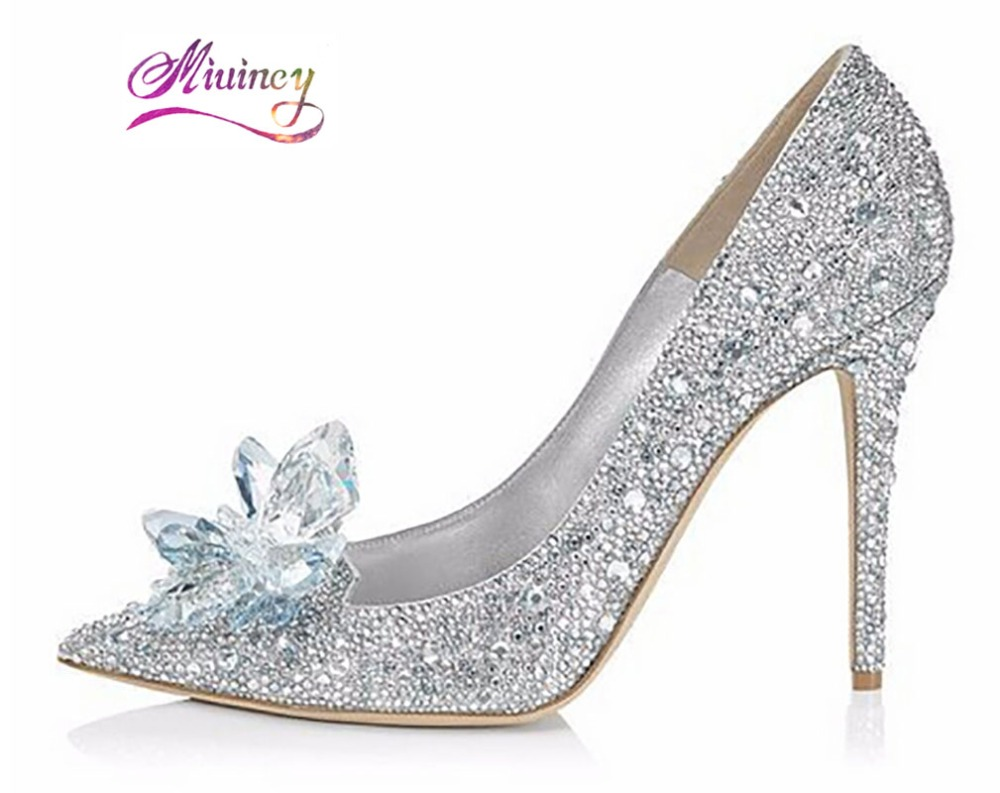 2017 New Rhinestone High Heels Cinderella Shoes Women Pumps Pointed toe Woman Crystal Wedding Shoes 9cm heel big size(China (Mainland))