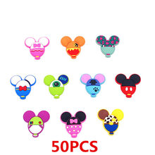 Mix 50PCS Mickey Head Minnie Soft Decoration Flat PVC DIY Gadgets Fit Bracelets Shoe Charms hair Accessories Buttons Craft gift(China)