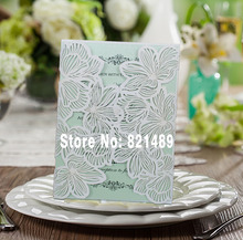 Custom White and Green Wedding Invitation; Delicate Handmade Wedding Invitation Card - Set of 50