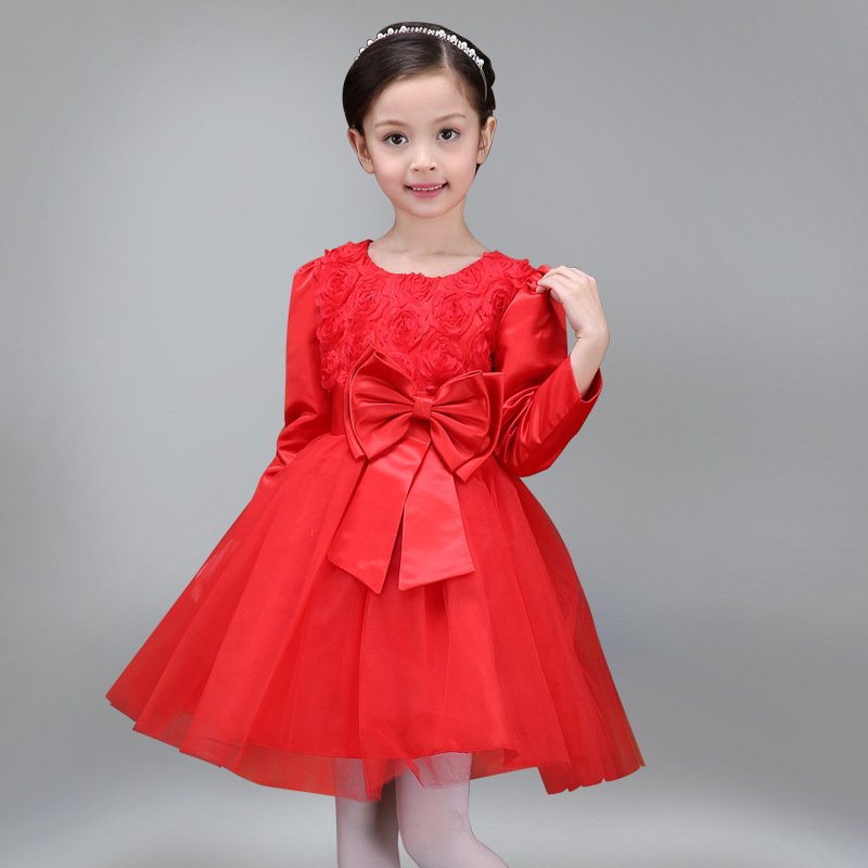 Autumn Toddler Girl Clothes Ball Gown Cotton Long Sleeve O-neck Mesh Big Bowknot Decor Princess Wedding Show Stage Formal Dress<br><br>Aliexpress