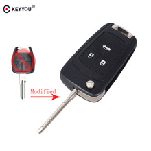 KEYYOU 3 Buttons Flip Folding Key Shell for Chevrolet Cruze Aveo Remote Key Case Uncut Blank Free Shipping(China)