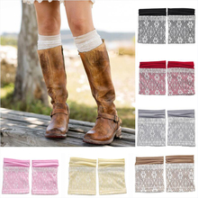 1 Pair Lace Leg Warmers for Women Autumn Winter Double Layers Boho Boot Cuffs Contrast Color Boot Socks Fashion Gaiters