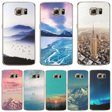 S6 edge Cases For Samsung Galaxy S6edge Back Phone Cover Half Clear Soft Ultra Thin Silicon Phone Case Shell Luxury Rivers Star