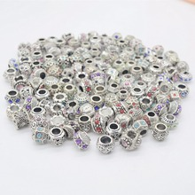 ! 10mixed alloy charms mix color rhinestone big hole beads Fit Pandora bracelet DIY. - js jewelry Store store