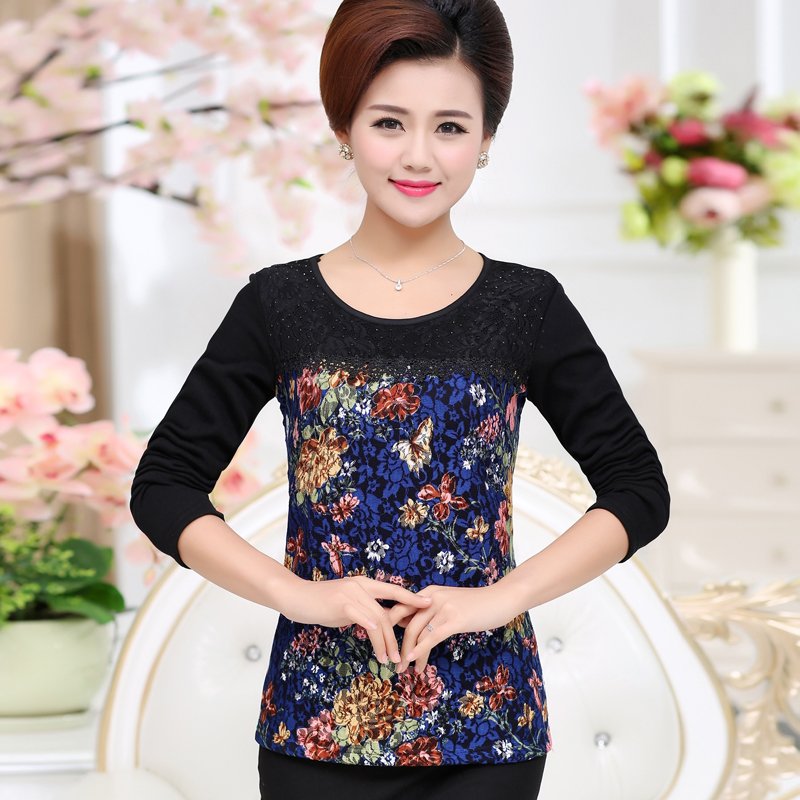 new fashion middle age women spring autumn lace basic shirt female long-sleeve diamond T-shirt clothing mother plus size tops