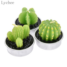 Lychee Mini Cactus Candle Artificial Green Plants Art Candle Wedding Party Decor Home Decoration(China)