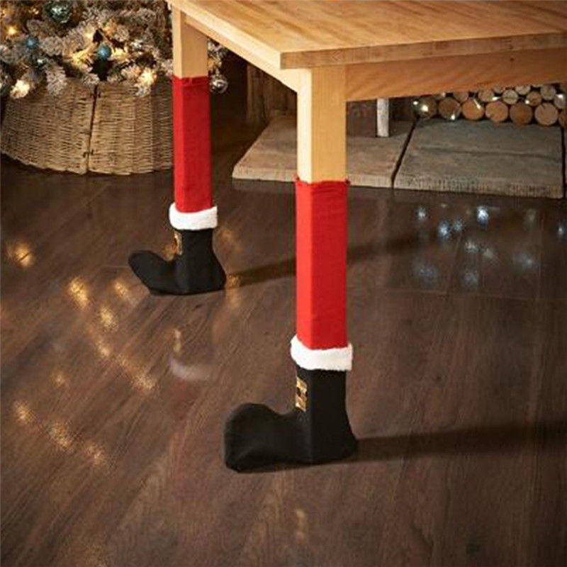 JX-LCLYL 4Pcs Christmas Santa J Shape Boot Chair Leg Cover Ornaments Party Home Decor