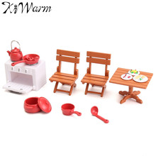 Fashion Mini Picnic Set Table Desk Stool Oven Ornaments Figurines Miniatures Doll House Plastic Craft Christmas Gift Kids Decor