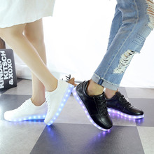 Children Shoes with Light white black parental Fashion Glowing Sneakers Toddlers Girls Boys Sneakers Led Shoes Kids Size 25-44