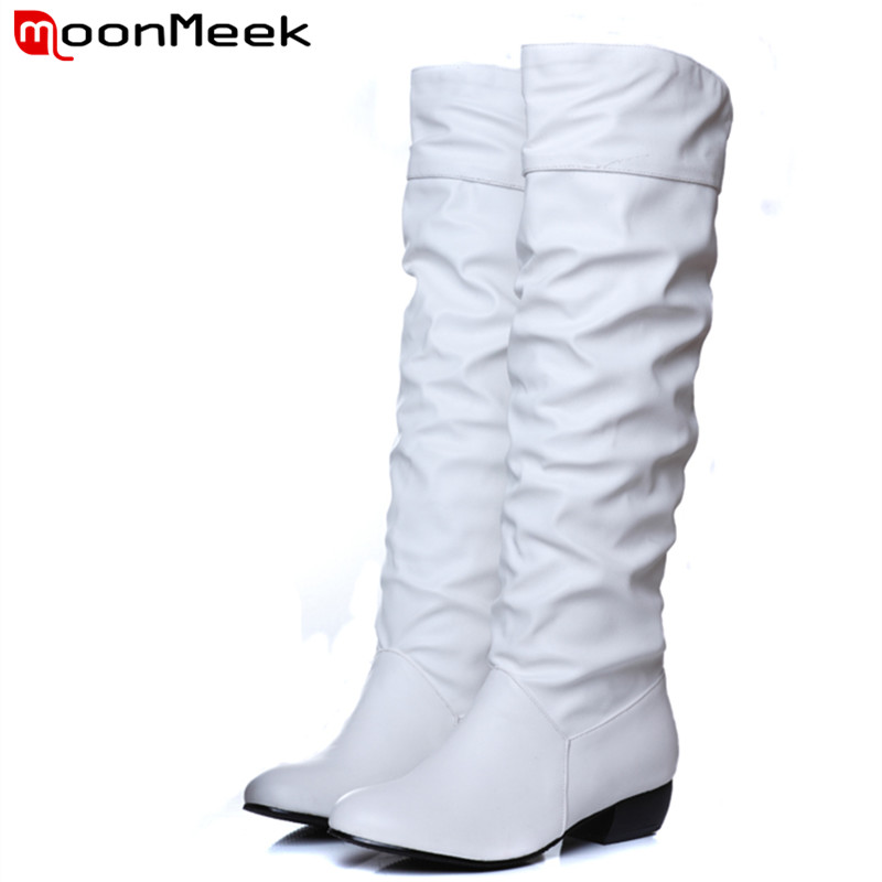 2017 Big size 34-43 Women Knee High Boots Sexy Square Heels Spring Autumn Shoes Round Toe winter shoes woman black white<br><br>Aliexpress