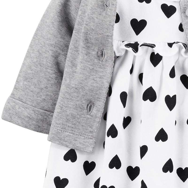 2 pcs vêtements ensembles doux coeur body robe avec un cardigan de Carter bébé fille coton Printemps Été Automne 126H362 13