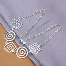 Simple hot sale wedding silver plated jewelry female threaded women ladies hot nice charms necklace free shipping N350