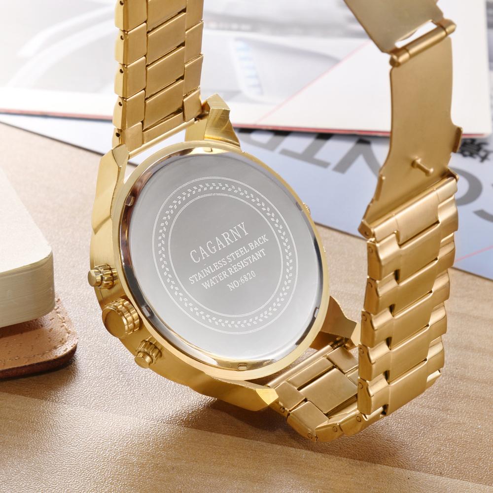 Cagarny Watches Men Fashion Quartz Wristwatches Cool Big Case Golden Steel Watchband Military Relogio Masculino Diesel Style dz6820 (7)