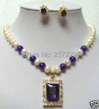 Wholesale price FREE SHIPPING ^^^7-8mm Fresh water white Pearl Purple stone pendant Necklace Earring Sets