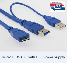 5Gbps Micro B USB 3.0 External hard Drive Cable with USB Power Supply For WD Passport Samsung M3 Toshiba SONY ADATA