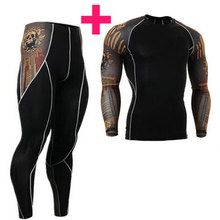 Fashion Long Sleeves Men's T-shirts 3D Prints Tight Skin Compression Shirts for Men MMA Rashguard Male Body Building Top Fitness