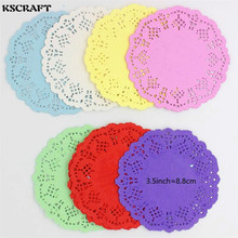 KSCRAFT 3.5'' Colored Flower Lace Round Paper Doilies Placemat Craft Doyleys Wedding Birthday Tableware Decoration 20pcs(China)