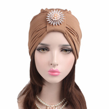 New Corn Kernels Cotton Headband Diamond Drill Hair Accessories India Headdress Chemotherapy Hat TJM-242B 2Pcs Free Shipping(China)