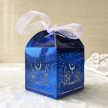 100pcs /lot free shipping customized gold/blue/silver metallic paper happy Eid celebrate favor box laser cut Ramadan decorations(China)