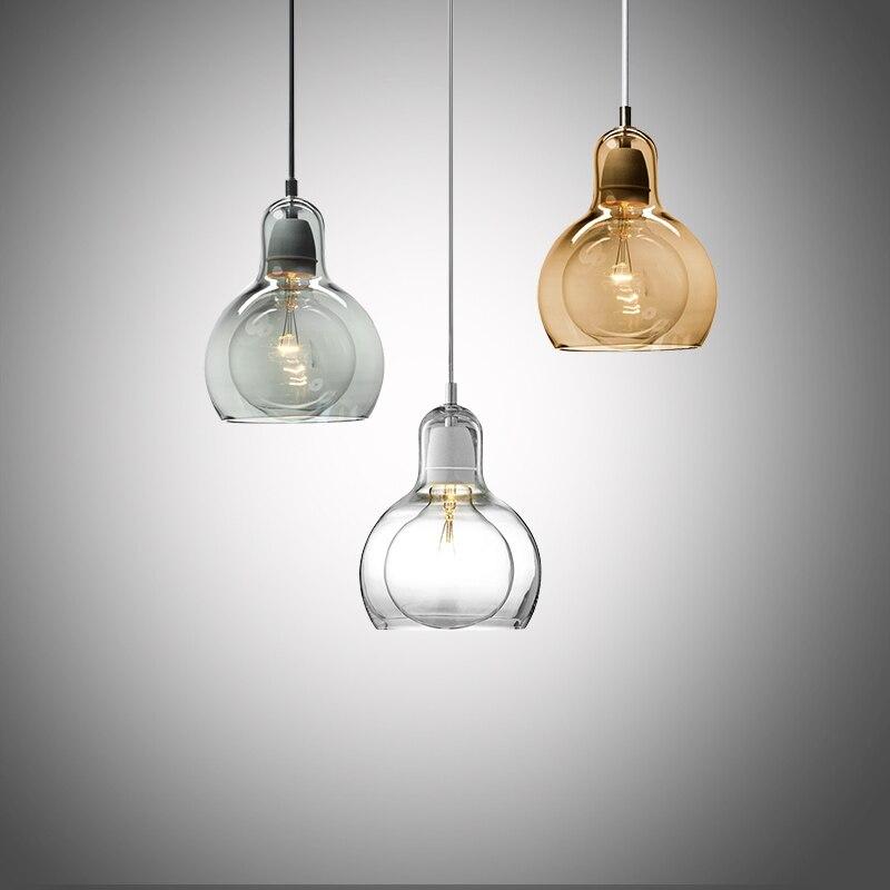 Modern brief glass bulb shape E27 bulb pendant lighting fixture loft creative home deco living room pendant lamp<br>