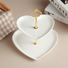 2 Layers European Style Fruit Dish Cake Stand Dessert Plate 2layer Ceramic Bracket Fruitcake Stand Party Plate Supplies