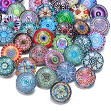50pcs/lot Mixed Beautiful Exotic Pattern & Styles Charms 18mm Glass Snap Button For DIY Bracelet Snaps Jewelry KZHM013(China)