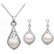 fashion brand WEDDING bridal queen rose yellow cute Plated Simulated Pearl pendant Necklace Earrings Jewelry sets  29043