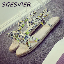 SGESVIER Joker style Advanced imported canvas Pure and fresh floral decoration women Sandals shoes Flat shoes size 30-45  XT29