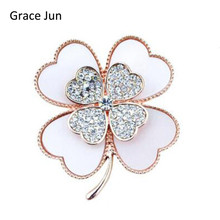High Quality Bridal Rhinestone Clover Brooch White and Black Color Enamel Pins and Brooches for Wedding Jewelry Accessories Gift