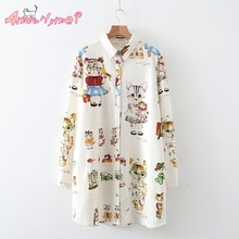 Buy 2017 Spring New Woman Shirt Loose Turn-down Collar Long Sleeve Cartoon Printing Cotton Casual Blouse Japanese Mori Girl Shirt for $19.99 in AliExpress store