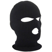 3 Hole Hot Mask Balaclava Black Knit Hat Face Shield Beanie Cap Snow Winter Warm -Y107