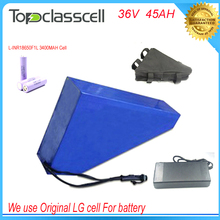No taxes 36v elactric bike battery with triangle type battery bag for 36v 45ah li ion battery pack with Use LG 18650 cell