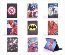 Cartoon Stand cover for apple ipad 2 ipad 3 ipad 4 tablet case Spider-Man superman Captain America The Avengers Iron Man Batman(China)